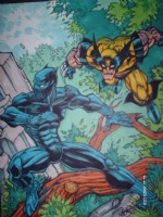 0009a.black panther/wolverine Comic Art